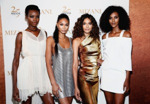 NEW YORK, NY - JUNE 20:  (L-R) Campaign Models Maria Borges, Chanel Iman,  Heidy De la Rosa, and Grace Mahary co-host the MIZANI 25th Anniversary Celebration and Styling Renaissance Launch with  Global Artistic Director and Celebrity Stylist Cesar Ramirez on June 20, 2016 in New York City.  (Photo by Brian Ach/Getty Images for MIZANI)