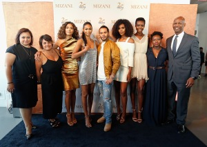 NEW YORK, NY - JUNE 20: (L-R) Teresa Lopez, Kate Oechsle, Heidy De la Rosa, Chanel Iman, Cesar Ramirez, Grace Mahary, Maria Borges, Tumi Soyinka, and Kevin Mason pose during the MIZANI 25th Anniversary Celebration and Styling Renaissance Launch hosted by Global Artistic Director and Celebrity Stylist César Ramirez and Campaign Models Chanel Iman, Maria Borges, Grace Mahary and Heidy De la Rosa on June 20, 2016 in New York City.  (Photo by Brian Ach/Getty Images for MIZANI)